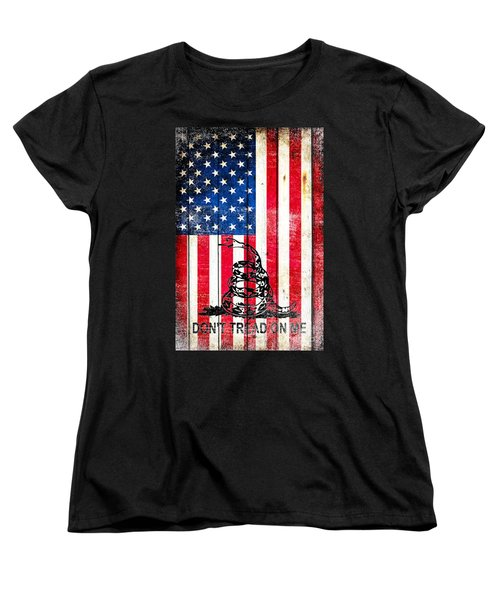 Viper On American Flag On Old Wood Planks Vertical Women's T-Shirt (Standard Cut) by M L C