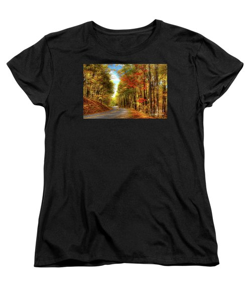 Women's T-Shirt (Standard Cut) featuring the painting Vivid Autumn In The Blue Ridge Mountains Ap by Dan Carmichael