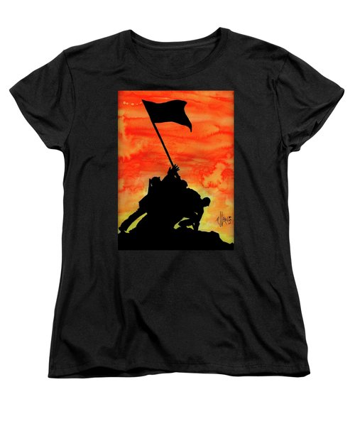 Women's T-Shirt (Standard Cut) featuring the painting Vj Day by P J Lewis