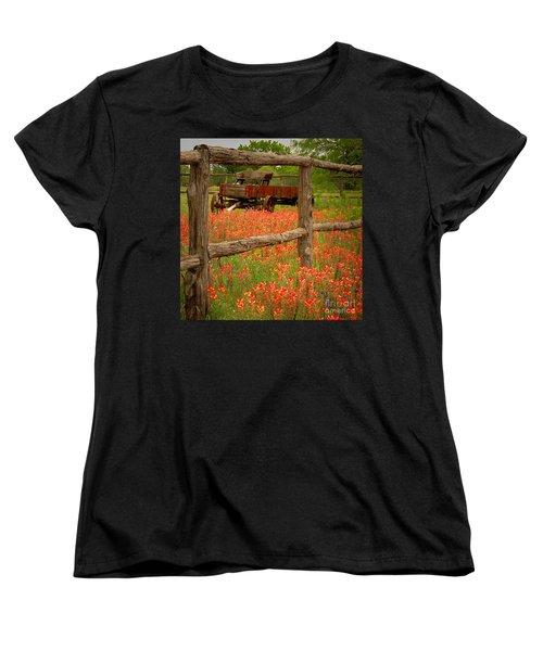 Wagon In Paintbrush - Texas Wildflowers Wagon Fence Landscape Flowers Women's T-Shirt (Standard Cut) by Jon Holiday