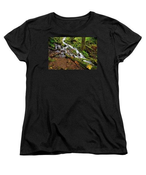 Women's T-Shirt (Standard Cut) featuring the photograph Wahkeena Falls by Jonathan Davison
