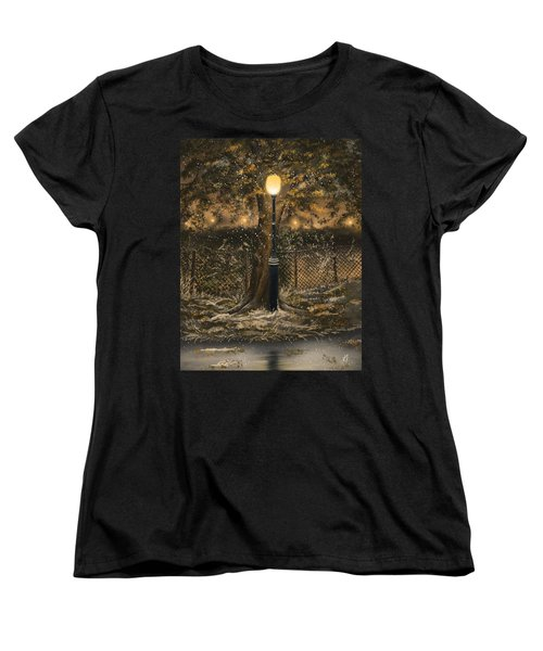 Women's T-Shirt (Standard Cut) featuring the painting Waiting For The Snow by Veronica Minozzi