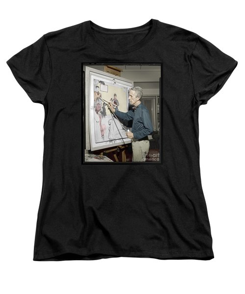 Women's T-Shirt (Standard Cut) featuring the photograph Waiting For The Vet Norman Rockwell by Martin Konopacki Restoration