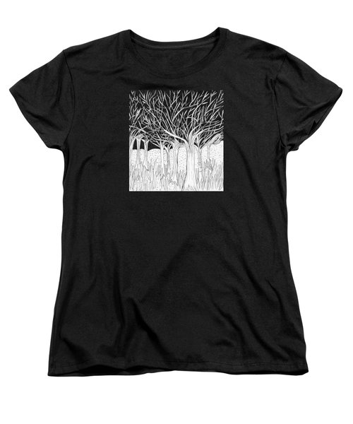 Walking Out Of The Woods Women's T-Shirt (Standard Cut) by Lou Belcher