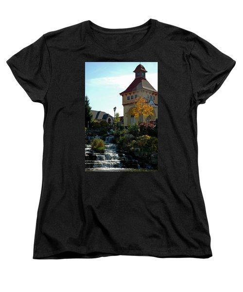 Women's T-Shirt (Standard Cut) featuring the photograph Waterfall Frankenmuth Mich by LeeAnn McLaneGoetz McLaneGoetzStudioLLCcom
