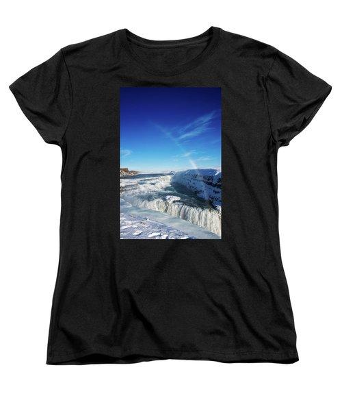 Women's T-Shirt (Standard Cut) featuring the photograph Waterfall Gullfoss In Winter Iceland Europe by Matthias Hauser