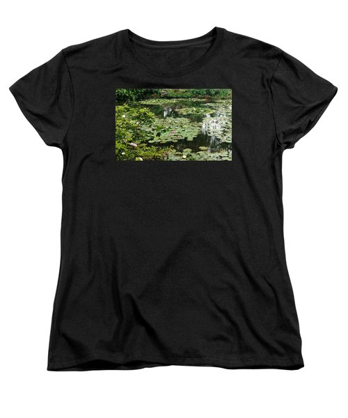 Women's T-Shirt (Standard Cut) featuring the photograph Waterlilies At Monet's Gardens Giverny by Therese Alcorn