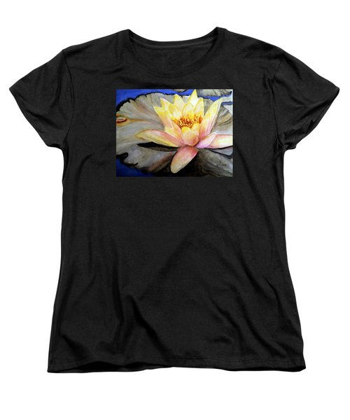 Women's T-Shirt (Standard Cut) featuring the painting Waterlily  by Carol Grimes