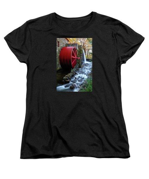 Wayside Inn Grist Mill Water Wheel Women's T-Shirt (Standard Cut) by Betty Denise