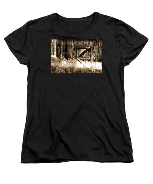 Women's T-Shirt (Standard Cut) featuring the photograph Weathered Barn Door by Gray  Artus