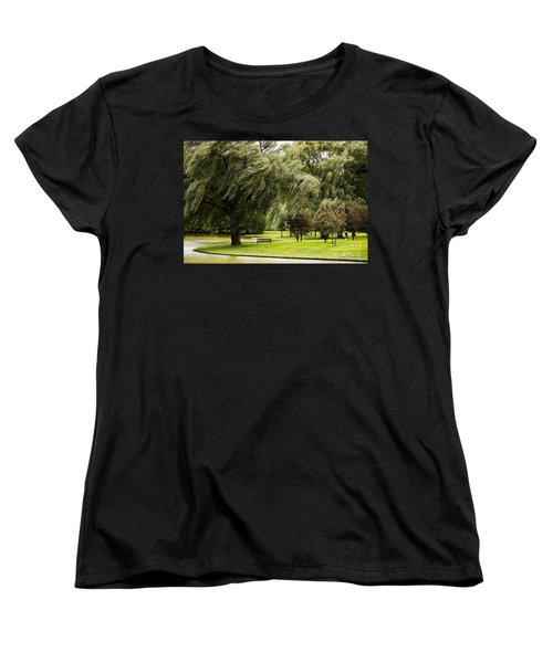 Weeping Willow Trees On Windy Day Women's T-Shirt (Standard Cut) by Carol F Austin