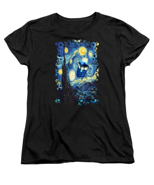 Weird Flying Phone Booth Starry The Night Women's T-Shirt (Standard Cut) by Three Second
