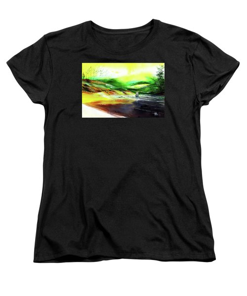 Women's T-Shirt (Standard Cut) featuring the painting Welcome Back by Anil Nene
