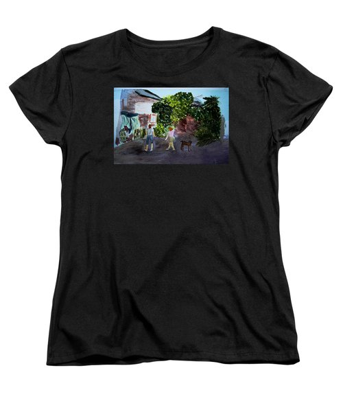 Women's T-Shirt (Standard Cut) featuring the painting West End Shopping by Donna Walsh