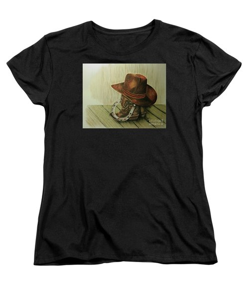 Women's T-Shirt (Standard Cut) featuring the drawing Western Wares by Terri Mills