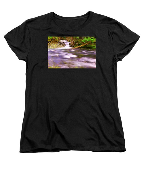 Women's T-Shirt (Standard Cut) featuring the photograph Where The Stream Meets The River by Jeff Swan