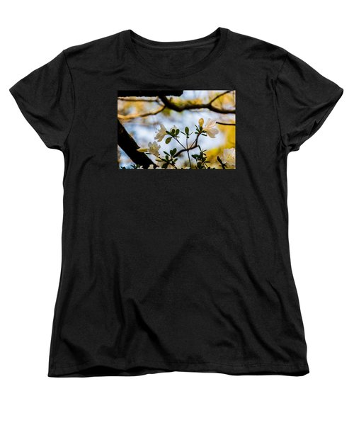 Whie Azaleas Under A Dogwood Tree Women's T-Shirt (Standard Cut) by John Harding