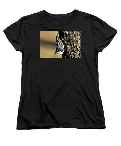 White-breasted Nuthatch On Tree Women's T-Shirt (Standard Cut) by Sheila Brown