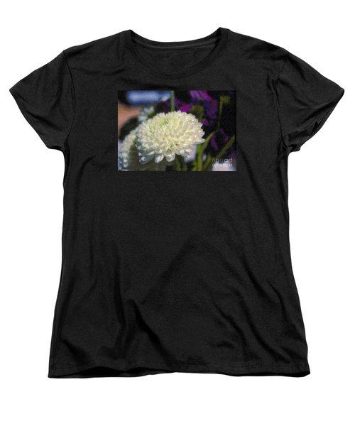 Women's T-Shirt (Standard Cut) featuring the photograph White Chrysanthemum Flower by David Zanzinger