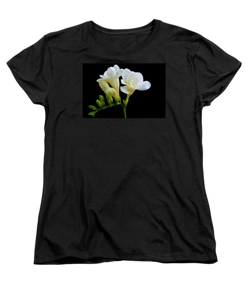 White Freesia Women's T-Shirt (Standard Cut) by Terence Davis