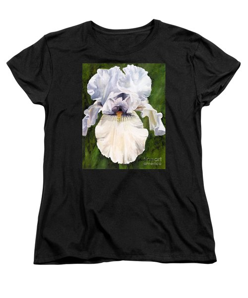 Women's T-Shirt (Standard Cut) featuring the painting White Iris by Laurie Rohner