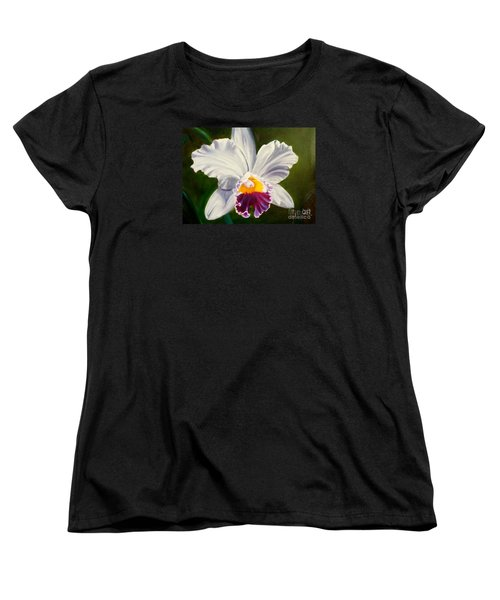 Women's T-Shirt (Standard Cut) featuring the painting White Orchid by Jenny Lee