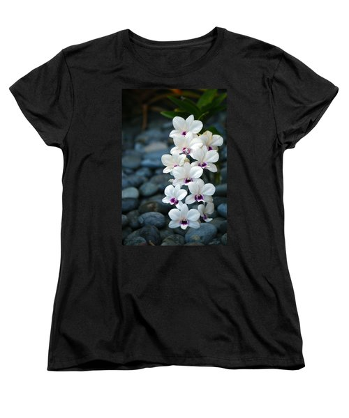 Women's T-Shirt (Standard Cut) featuring the photograph White Orchids by Debbie Karnes