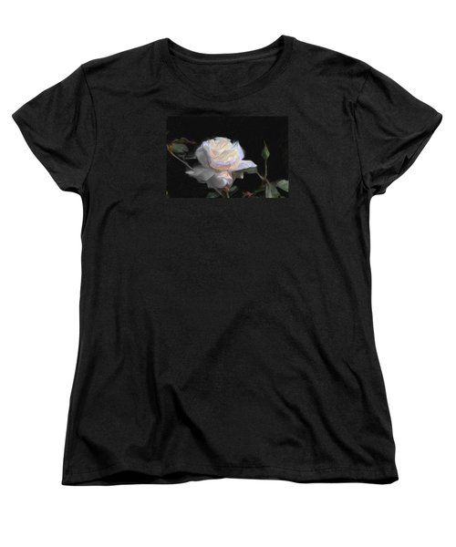 White Rose Painting Women's T-Shirt (Standard Cut) by Don  Wright