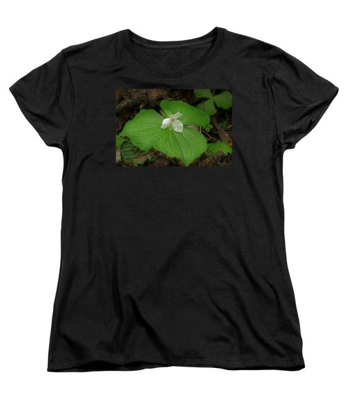 Women's T-Shirt (Standard Cut) featuring the photograph White Spring Trillium by Mike Eingle