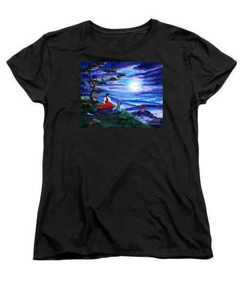 White Tiger Meditation Women's T-Shirt (Standard Cut) by Laura Iverson
