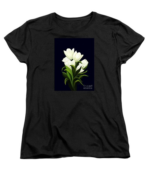 Women's T-Shirt (Standard Cut) featuring the painting White Tulips by Patricia Griffin Brett