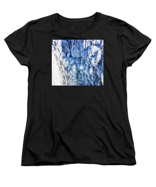Women's T-Shirt (Standard Cut) featuring the photograph White Water And Blue Ice Gullfoss Waterfall Iceland by Matthias Hauser