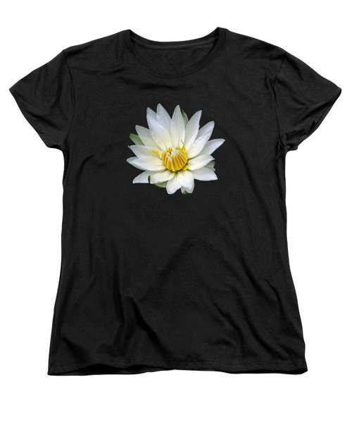 White Waterlily With Dewdrops Women's T-Shirt (Standard Cut) by Rose Santuci-Sofranko