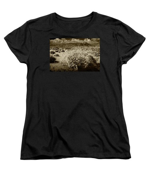 Women's T-Shirt (Standard Cut) featuring the photograph Wild Desert Flowers Blooming In Sepia Tone  by Randall Nyhof