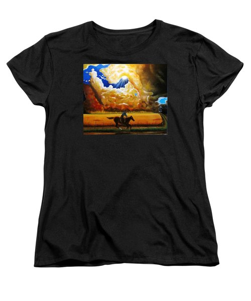 Women's T-Shirt (Standard Cut) featuring the painting Wild Fire  by Gene Gregory