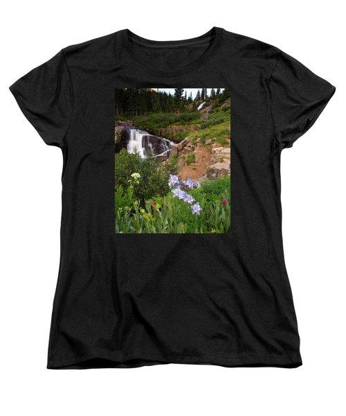 Women's T-Shirt (Standard Cut) featuring the photograph Wild Flowers And Waterfalls by Steve Stuller