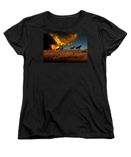 Wild Horses At Sunset Women's T-Shirt (Standard Cut) by Harry Spitz