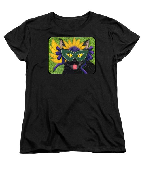 Women's T-Shirt (Standard Cut) featuring the painting Wild Mardi Gras Cat by Carrie Hawks