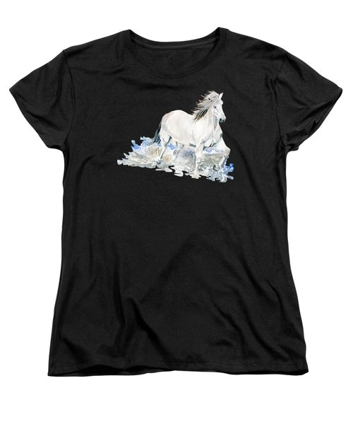 Wild White Horse  Women's T-Shirt (Standard Cut) by Melly Terpening
