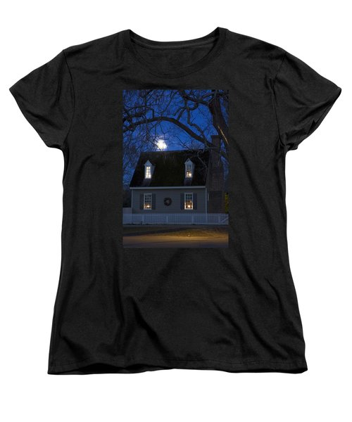 Williamsburg House In Moonlight Women's T-Shirt (Standard Cut) by Sally Weigand