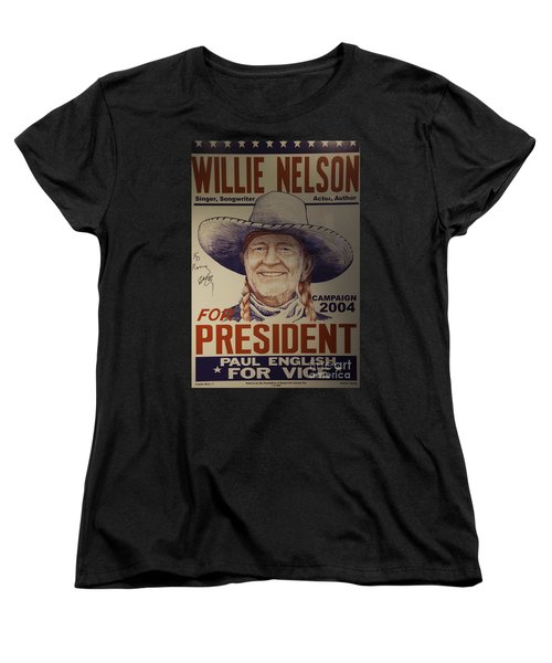 Willie For President Women's T-Shirt (Standard Cut) by Bob Hislop