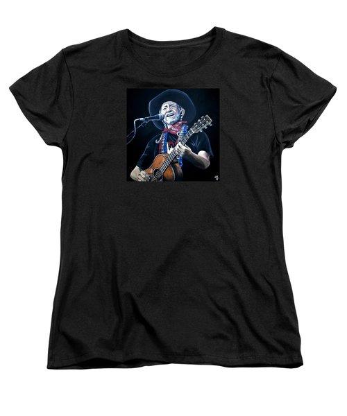 Willie Nelson 2 Women's T-Shirt (Standard Cut) by Tom Carlton