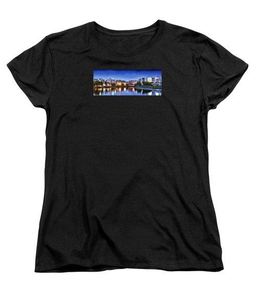 Wilmington Delaware - Skyline At Dusk Women's T-Shirt (Standard Cut) by Brendan Reals