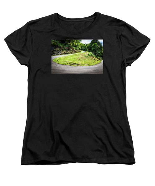 Women's T-Shirt (Standard Cut) featuring the photograph Winding Road With Sharp Bend Going Up The Mountain by Semmick Photo