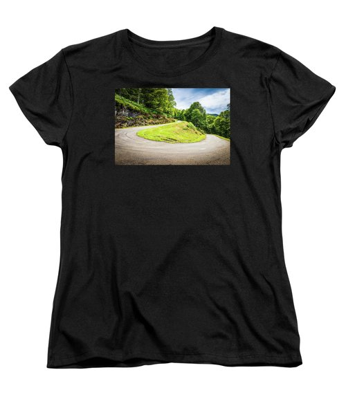 Women's T-Shirt (Standard Cut) featuring the photograph Winding Road With Sharp Curve Going Up The Mountain by Semmick Photo