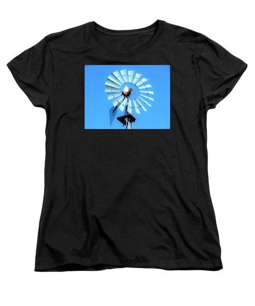 Women's T-Shirt (Standard Cut) featuring the photograph Windmill - Bright Sunny Day by Ray Shrewsberry