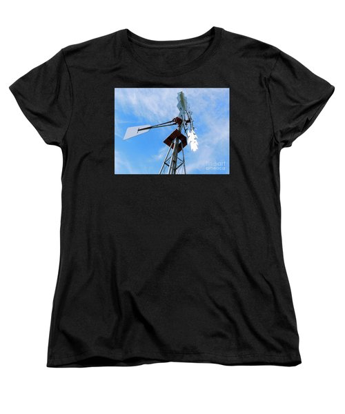 Women's T-Shirt (Standard Cut) featuring the photograph Windmill - Mildly Cloudy Day by Ray Shrewsberry