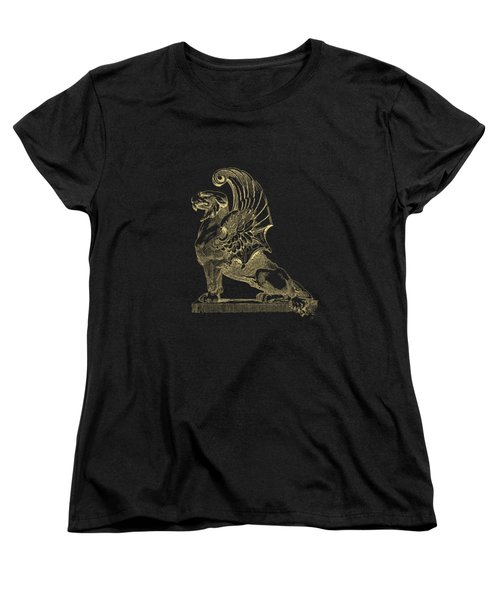 Winged Chimera From Theater De Bellecour, Lyon, France, In Gold On Black Women's T-Shirt (Standard Cut) by Serge Averbukh