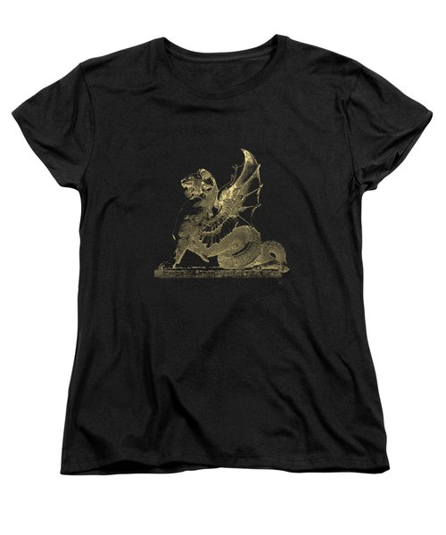 Winged Dragon Chimera From Fontaine Saint-michel, Paris In Gold On Black Women's T-Shirt (Standard Cut) by Serge Averbukh