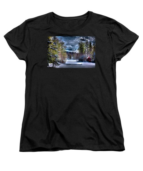 Women's T-Shirt (Standard Cut) featuring the photograph Winter At The Boathouse by David Patterson